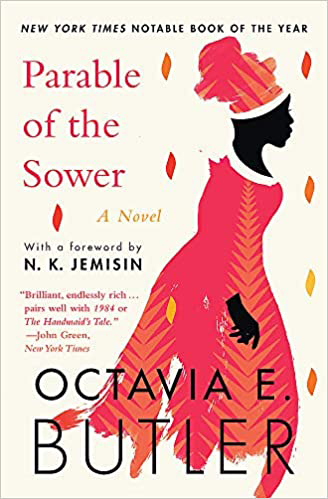 Front cover of Parable of the Sower. There is an illustration of a Black woman wearing a pink and orange dress. Around her are small shapes, like seeds.